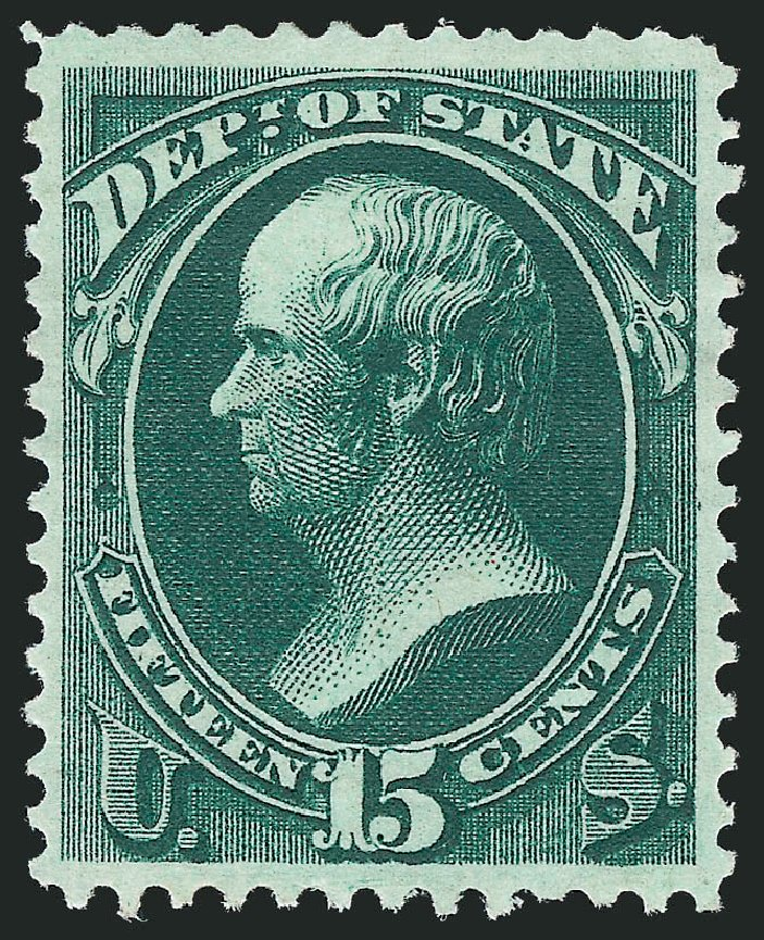 US Stamps Prices Scott Cat. O64: 15c 1873 State Official. Robert Siegel Auction Galleries, Dec 2012, Sale 1037, Lot 2331