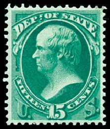 US Stamps Values Scott # O64 - 1873 15c State Official. Schuyler J. Rumsey Philatelic Auctions, Apr 2015, Sale 60, Lot 2574