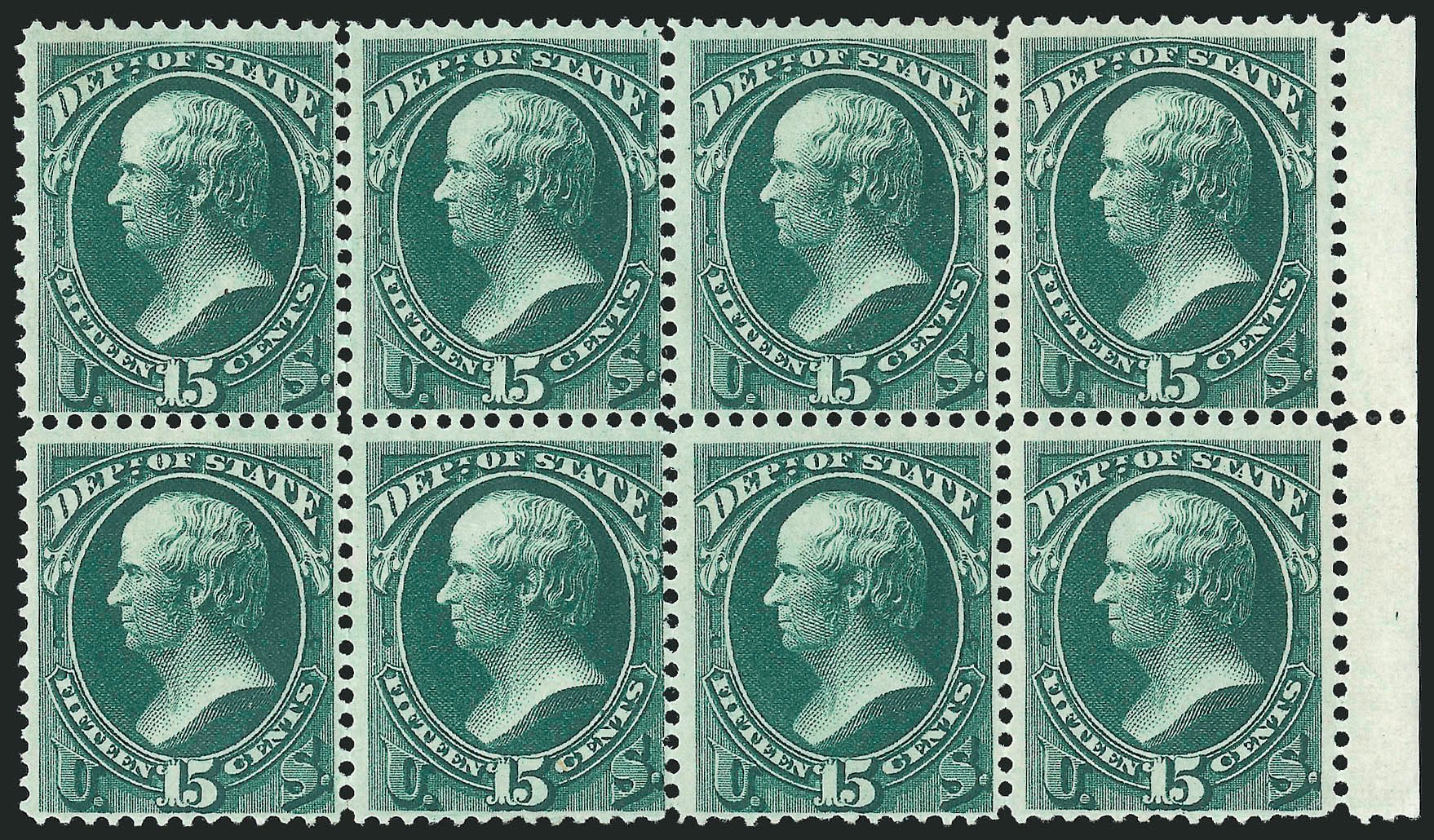 Values of US Stamp Scott Cat. #O64 - 1873 15c State Official. Robert Siegel Auction Galleries, Nov 2014, Sale 1085, Lot 4094