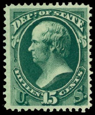 Values of US Stamp Scott Catalog O64 - 1873 15c State Official. Daniel Kelleher Auctions, Apr 2013, Sale 636, Lot 595