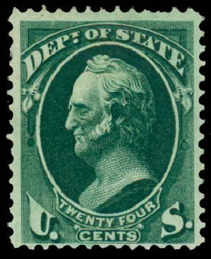 US Stamp Values Scott Catalog # O65 - 24c 1873 State Official. Daniel Kelleher Auctions, Sep 2013, Sale 639, Lot 3807