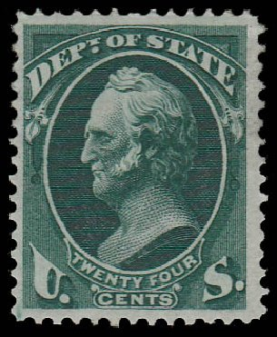 Value of US Stamps Scott Catalogue O65 - 24c 1873 State Official. Daniel Kelleher Auctions, Jan 2015, Sale 663, Lot 2158