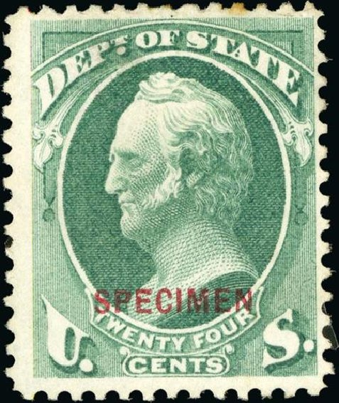 Value of US Stamp Scott # O65 - 1873 24c State Official. Spink Shreves Galleries, Jan 2015, Sale 150, Lot 259