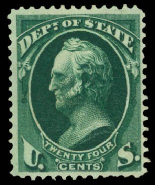 Value of US Stamps Scott Cat. #O65 - 24c 1873 State Official. Daniel Kelleher Auctions, May 2015, Sale 669, Lot 3381