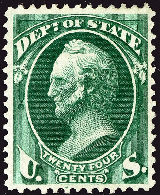 Values of US Stamps Scott Cat. O65 - 24c 1873 State Official. Spink Shreves Galleries, Jan 2014, Sale 146, Lot 531