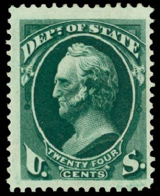 Price of US Stamps Scott Catalogue O65: 24c 1873 State Official. Daniel Kelleher Auctions, Dec 2013, Sale 640, Lot 614