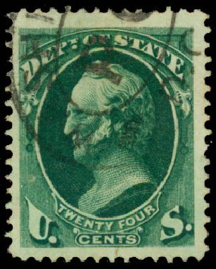 US Stamp Values Scott Catalogue # O65 - 1873 24c State Official. Daniel Kelleher Auctions, Aug 2015, Sale 672, Lot 2995