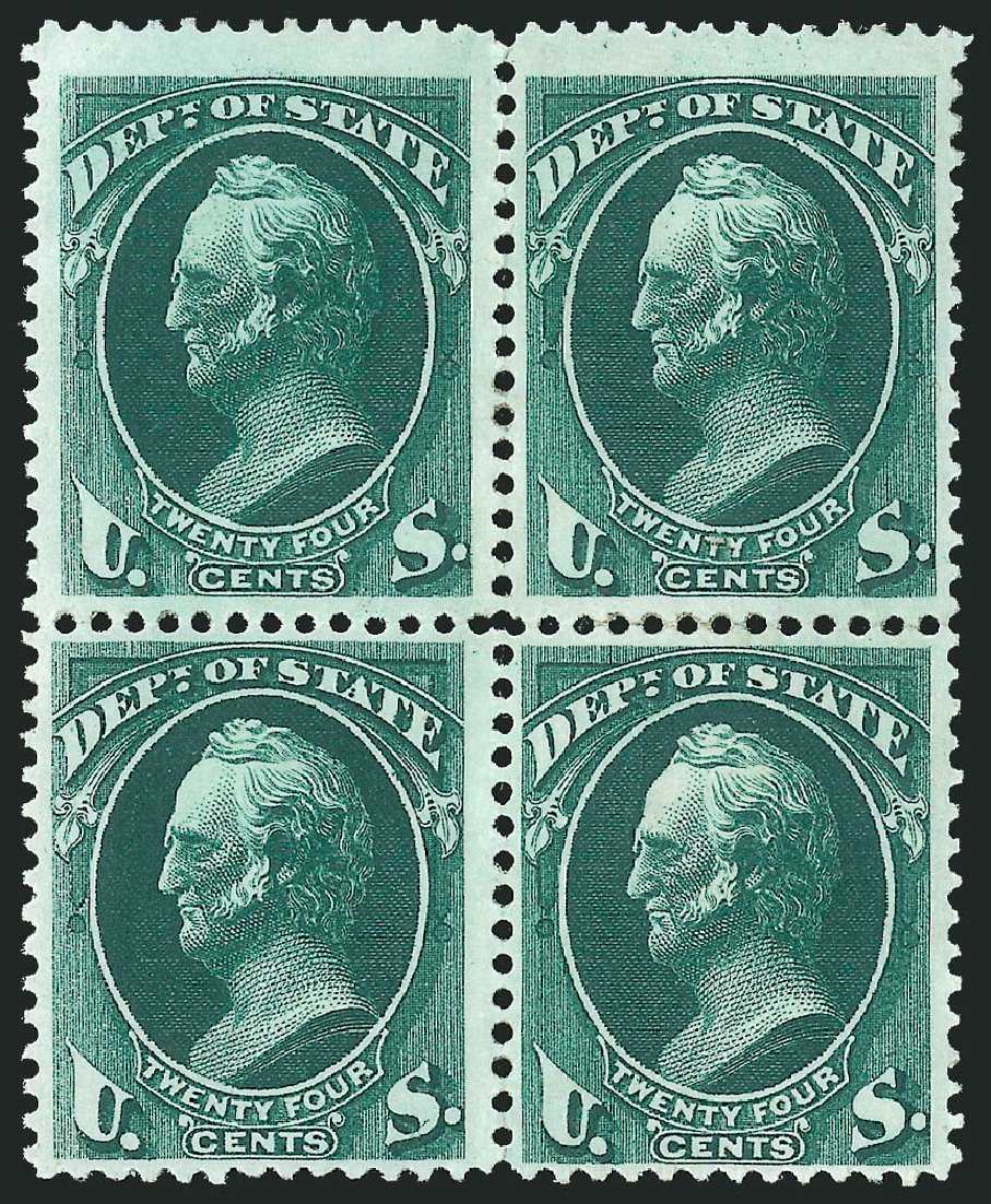 Values of US Stamp Scott # O65: 1873 24c State Official. Robert Siegel Auction Galleries, Nov 2014, Sale 1085, Lot 4096
