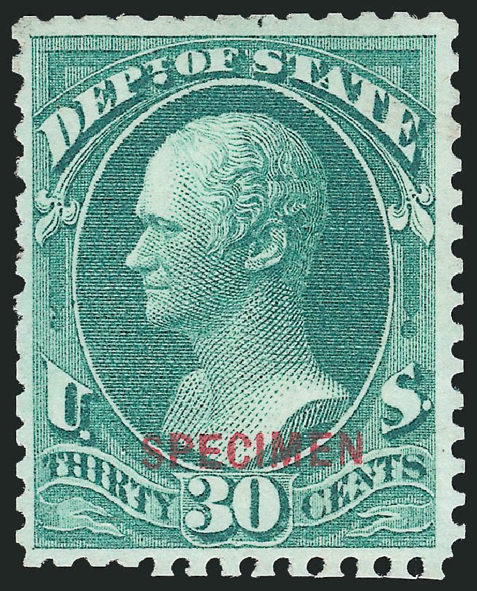 US Stamps Values Scott Catalogue O66 - 30c 1873 State Official. Robert Siegel Auction Galleries, Dec 2014, Sale 1090, Lot 1685
