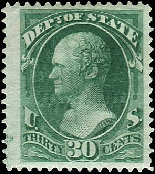 Values of US Stamps Scott O66: 1873 30c State Official. Regency-Superior, Aug 2015, Sale 112, Lot 1182