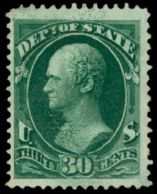Costs of US Stamp Scott # O66 - 30c 1873 State Official. Daniel Kelleher Auctions, Aug 2015, Sale 672, Lot 2996