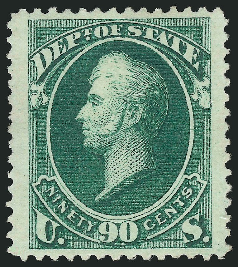 Cost of US Stamp Scott O67: 1873 90c State Official. Robert Siegel Auction Galleries, Dec 2014, Sale 1090, Lot 1667