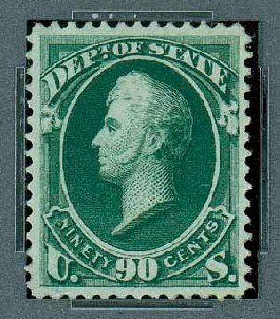 Values of US Stamp Scott Catalogue O67: 90c 1873 State Official. Matthew Bennett International, Oct 2007, Sale 322, Lot 2318