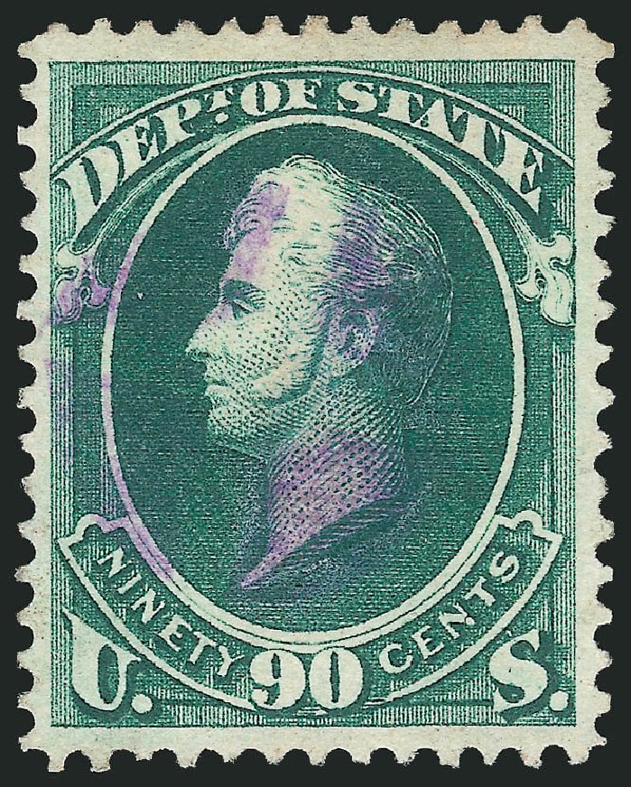 Value of US Stamps Scott Catalog # O67 - 1873 90c State Official. Robert Siegel Auction Galleries, Dec 2013, Sale 1062, Lot 840