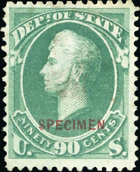 US Stamp Prices Scott #O67: 90c 1873 State Official. Spink Shreves Galleries, Jan 2015, Sale 150, Lot 260