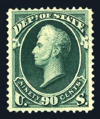 Price of US Stamps Scott Cat. #O67: 1873 90c State Official. Harmer-Schau Auction Galleries, Aug 2015, Sale 106, Lot 2155