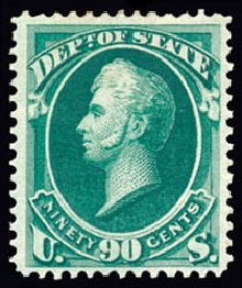 US Stamp Price Scott Catalogue # O67: 1873 90c State Official. Schuyler J. Rumsey Philatelic Auctions, Apr 2015, Sale 60, Lot 2575