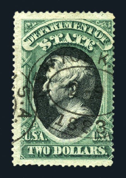 Price of US Stamp Scott Catalogue #O68 - US$2.00 1873 State Official. Harmer-Schau Auction Galleries, Aug 2015, Sale 106, Lot 2157