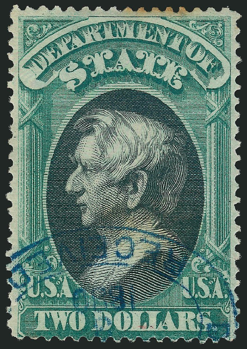 Value of US Stamps Scott Catalog #O68 - 1873 US$2.00 State Official. Robert Siegel Auction Galleries, Dec 2014, Sale 1090, Lot 1669