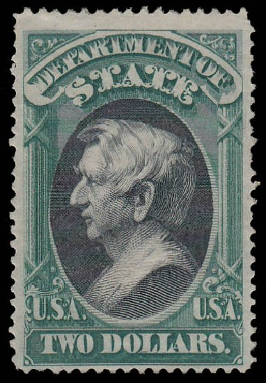 US Stamp Price Scott Cat. O68 - US$2.00 1873 State Official. Daniel Kelleher Auctions, Jan 2015, Sale 663, Lot 2162