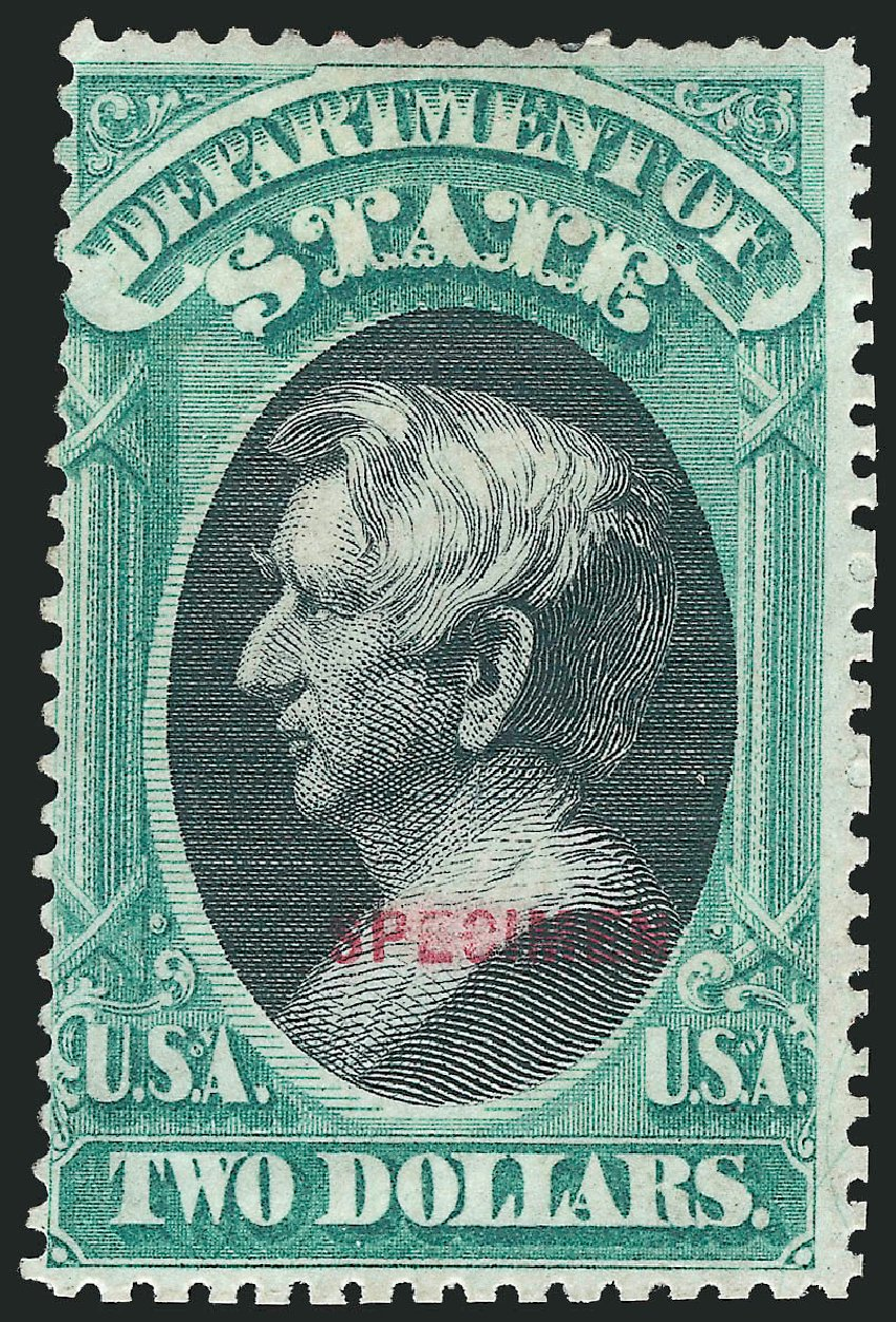 Price of US Stamps Scott Catalogue O68: US$2.00 1873 State Official. Robert Siegel Auction Galleries, Mar 2015, Sale 1095, Lot 613