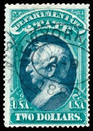 US Stamp Values Scott #O68 - 1873 US$2.00 State Official. Schuyler J. Rumsey Philatelic Auctions, Apr 2015, Sale 60, Lot 2576