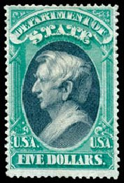 US Stamp Price Scott Cat. O69: US$5.00 1873 State Official. Schuyler J. Rumsey Philatelic Auctions, Apr 2015, Sale 60, Lot 2577