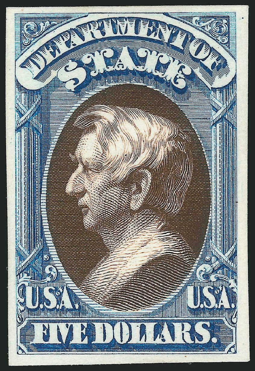 Value of US Stamps Scott Catalogue #O69: 1873 US$5.00 State Official. Robert Siegel Auction Galleries, Oct 2014, Sale 1082, Lot 248