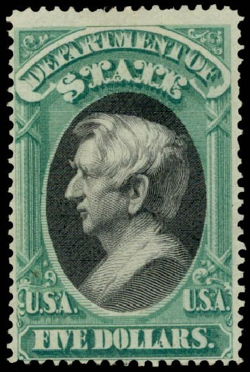 Cost of US Stamps Scott Catalogue # O69: 1873 US$5.00 State Official. Daniel Kelleher Auctions, Aug 2015, Sale 672, Lot 2999