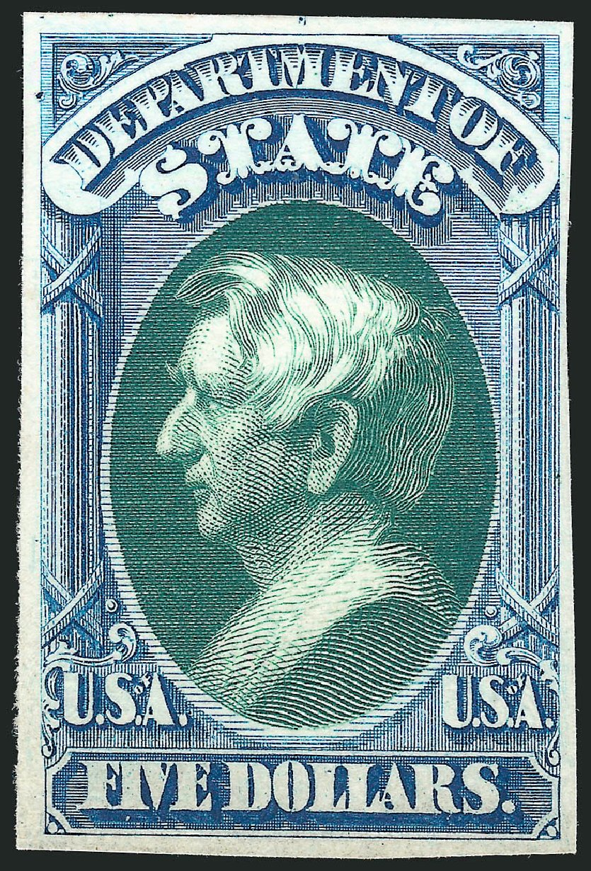US Stamps Values Scott Cat. #O69 - 1873 US$5.00 State Official. Robert Siegel Auction Galleries, Oct 2014, Sale 1082, Lot 249