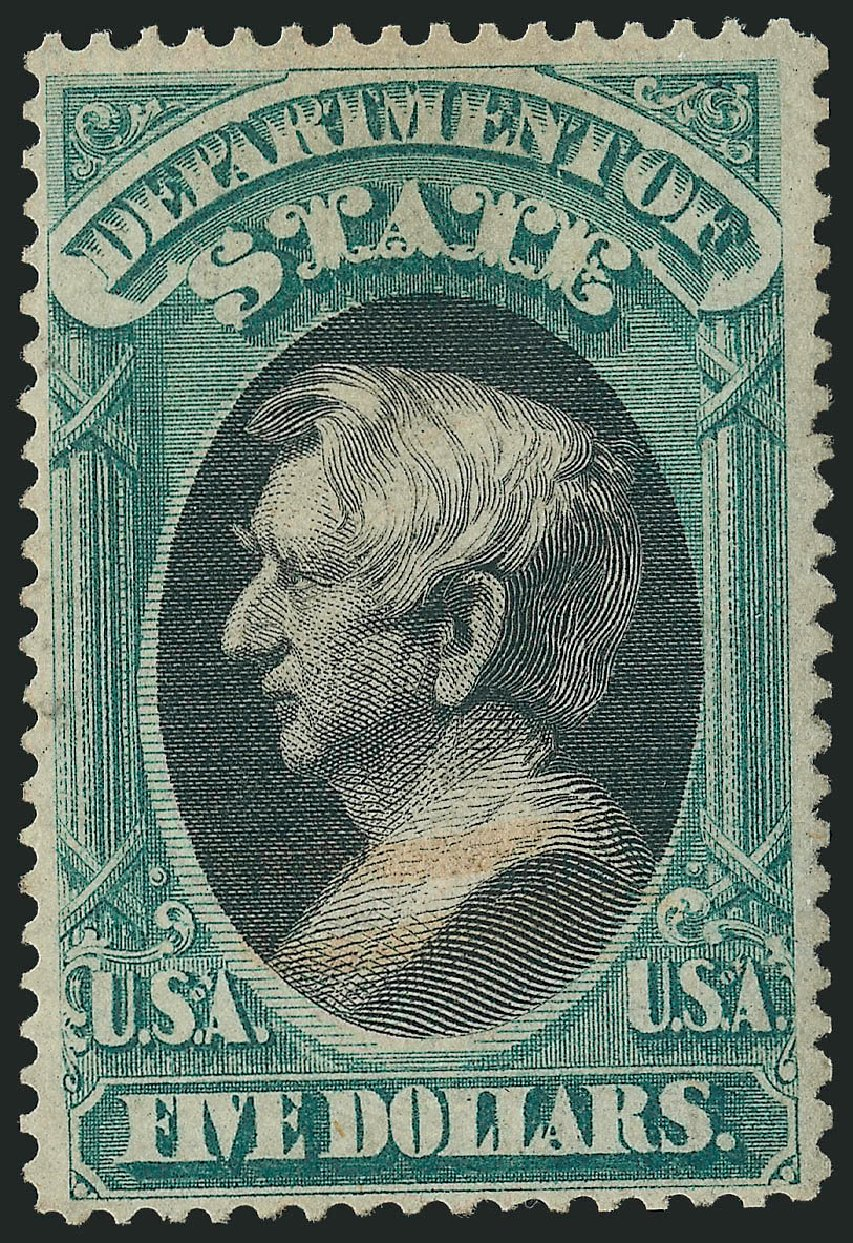 Cost of US Stamps Scott Cat. O69: 1873 US$5.00 State Official. Robert Siegel Auction Galleries, Dec 2014, Sale 1090, Lot 1671
