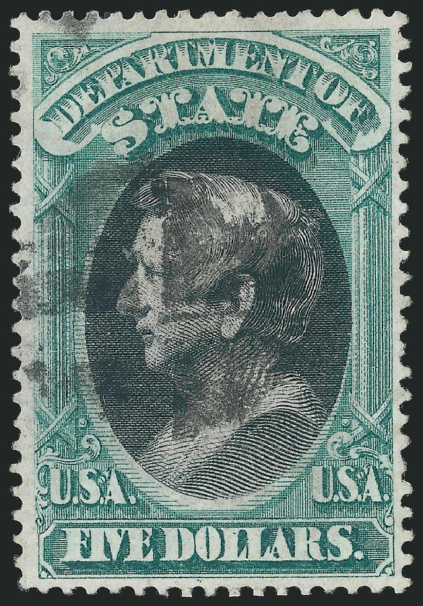 Value of US Stamps Scott Cat. #O69: US$5.00 1873 State Official. Robert Siegel Auction Galleries, Nov 2014, Sale 1085, Lot 4104