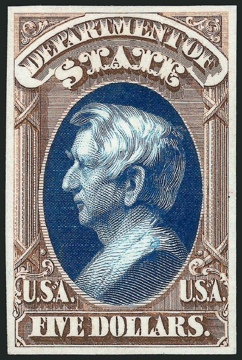 Prices of US Stamp Scott Catalogue # O69: 1873 US$5.00 State Official. Robert Siegel Auction Galleries, Oct 2014, Sale 1082, Lot 245