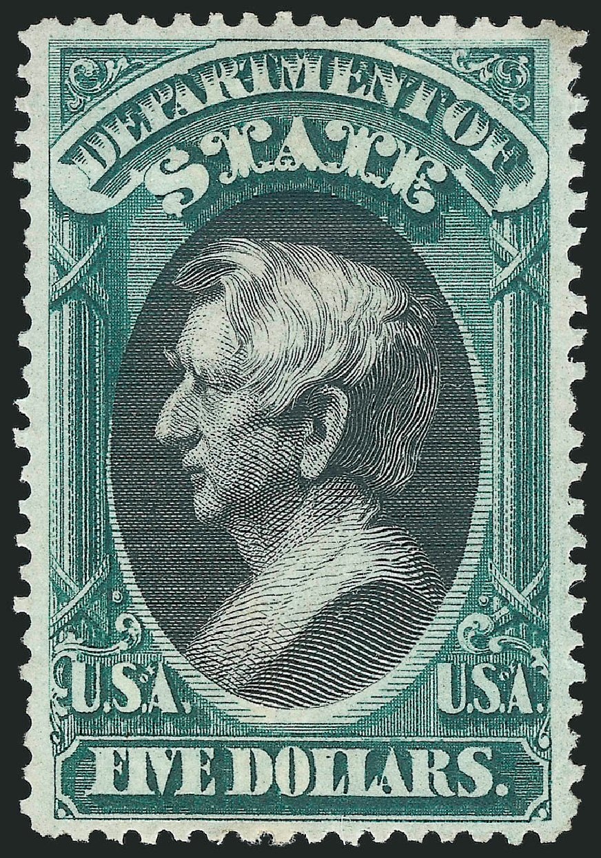Cost of US Stamp Scott Catalogue #O69 - US$5.00 1873 State Official. Robert Siegel Auction Galleries, Oct 2014, Sale 1082, Lot 505