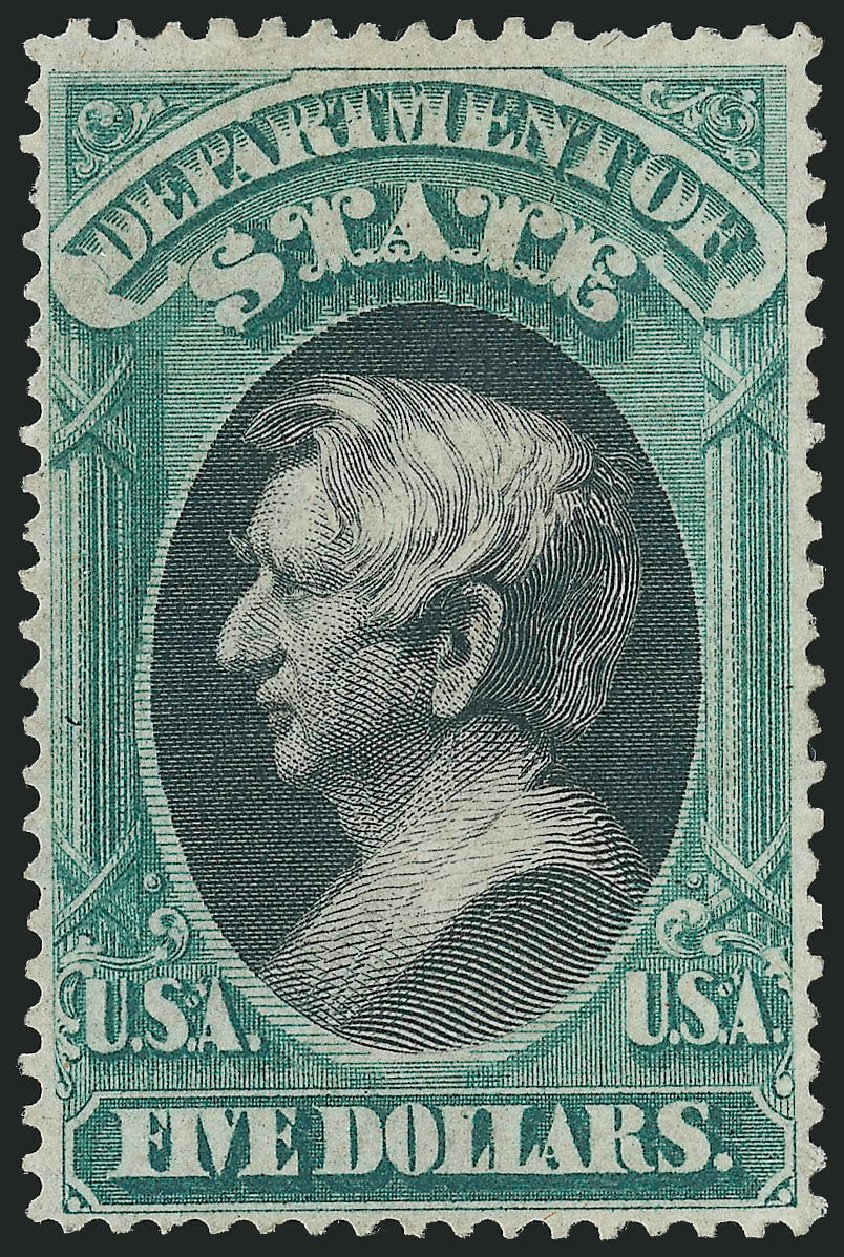 Costs of US Stamps Scott Cat. # O69 - US$5.00 1873 State Official. Robert Siegel Auction Galleries, Nov 2014, Sale 1085, Lot 4103