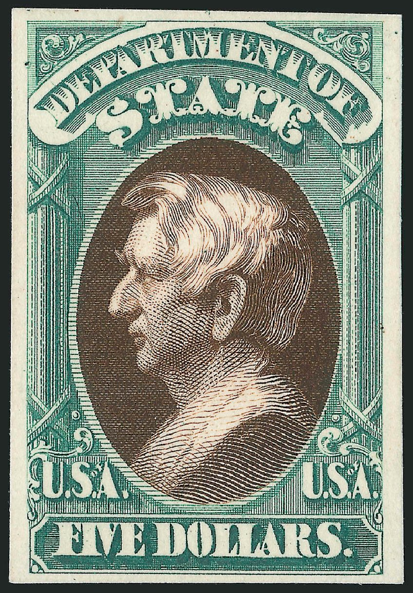 Prices of US Stamps Scott Catalog # O69 - 1873 US$5.00 State Official. Robert Siegel Auction Galleries, Oct 2014, Sale 1082, Lot 246