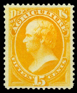 Values of US Stamp Scott Catalogue # O7 - 1873 15c Agriculture Official. Daniel Kelleher Auctions, Sep 2013, Sale 639, Lot 470