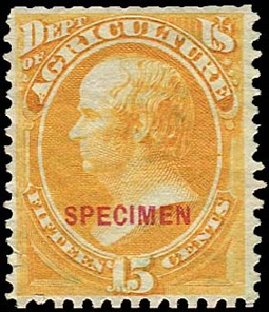 Prices of US Stamp Scott Cat. # O7: 1873 15c Agriculture Official. Regency-Superior, Jan 2015, Sale 109, Lot 1540