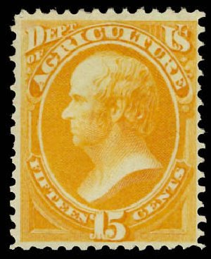 Values of US Stamps Scott Cat. O7 - 1873 15c Agriculture Official. Daniel Kelleher Auctions, Jun 2012, Sale 630, Lot 2101