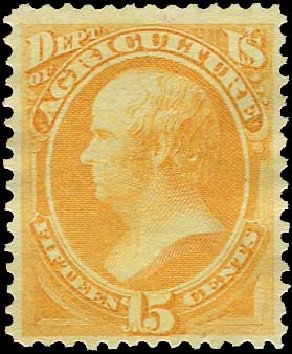 Cost of US Stamp Scott Catalog #O7: 1873 15c Agriculture Official. Regency-Superior, Aug 2015, Sale 112, Lot 1154