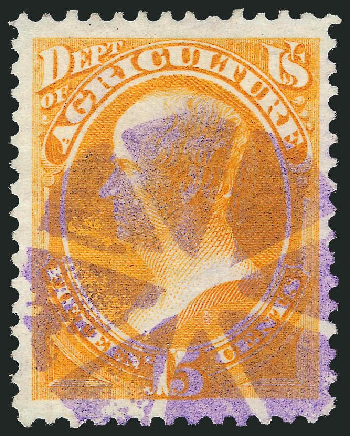 Value of US Stamps Scott Catalog O7: 15c 1873 Agriculture Official. Robert Siegel Auction Galleries, Dec 2013, Sale 1062, Lot 824