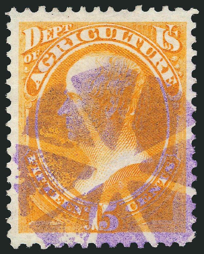 Value of US Stamps Scott Catalog O7: 15c 1873 Agriculture Official. Robert Siegel Auction Galleries, Dec 2013, Sale 1062, Lot 824