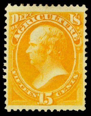 US Stamp Prices Scott Catalogue # O7: 15c 1873 Agriculture Official. Daniel Kelleher Auctions, May 2015, Sale 669, Lot 3335