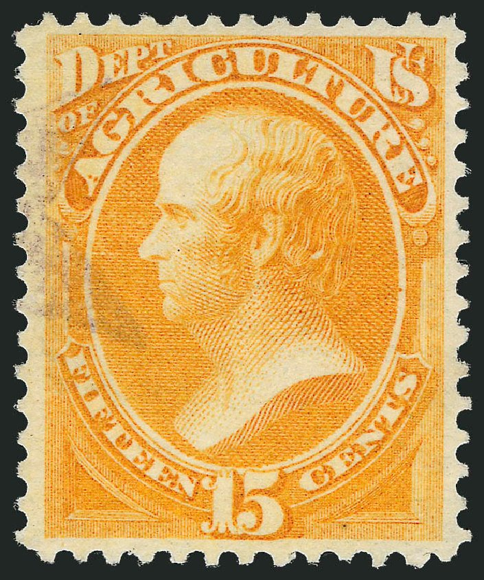 Price of US Stamp Scott Catalog O7: 15c 1873 Agriculture Official. Robert Siegel Auction Galleries, Oct 2012, Sale 1032, Lot 3645