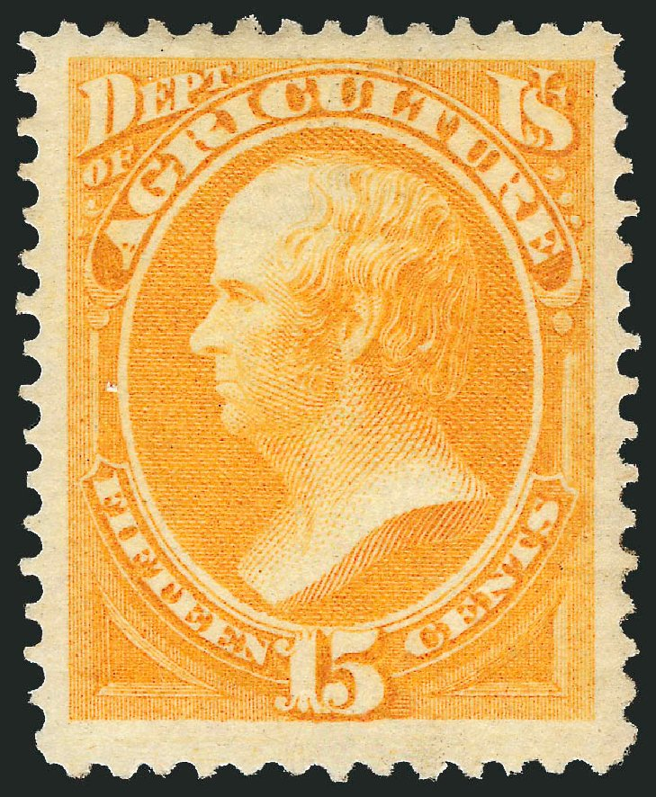 Costs of US Stamps Scott Cat. # O7: 15c 1873 Agriculture Official. Robert Siegel Auction Galleries, Nov 2014, Sale 1085, Lot 4015