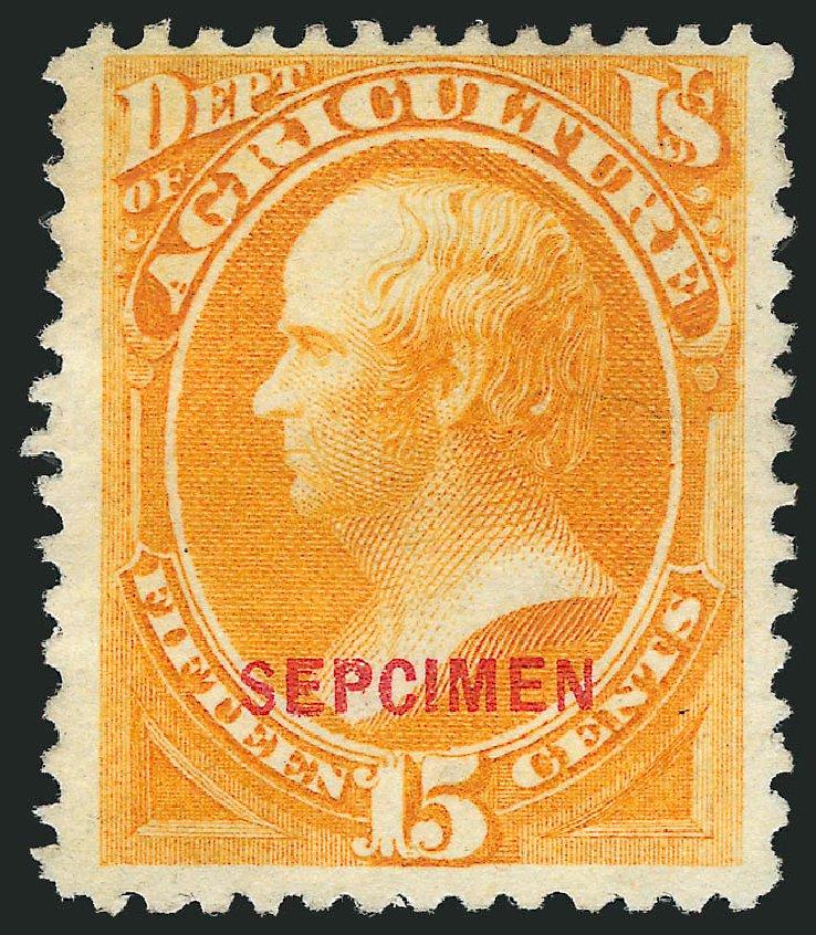 US Stamps Values Scott Catalogue # O7: 15c 1873 Agriculture Official. Robert Siegel Auction Galleries, Mar 2015, Sale 1095, Lot 522