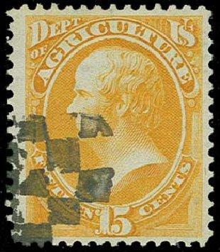 US Stamps Value Scott Catalog #O7 - 1873 15c Agriculture Official. H.R. Harmer, Jun 2015, Sale 3007, Lot 3483