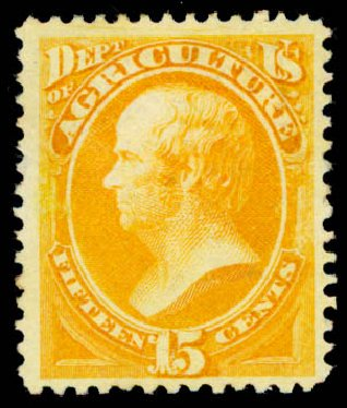 US Stamps Price Scott Catalogue # O7 - 1873 15c Agriculture Official. Daniel Kelleher Auctions, May 2015, Sale 669, Lot 3336