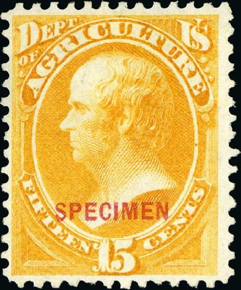 Prices of US Stamp Scott Cat. # O7 - 15c 1873 Agriculture Official. Spink Shreves Galleries, Jan 2015, Sale 150, Lot 246
