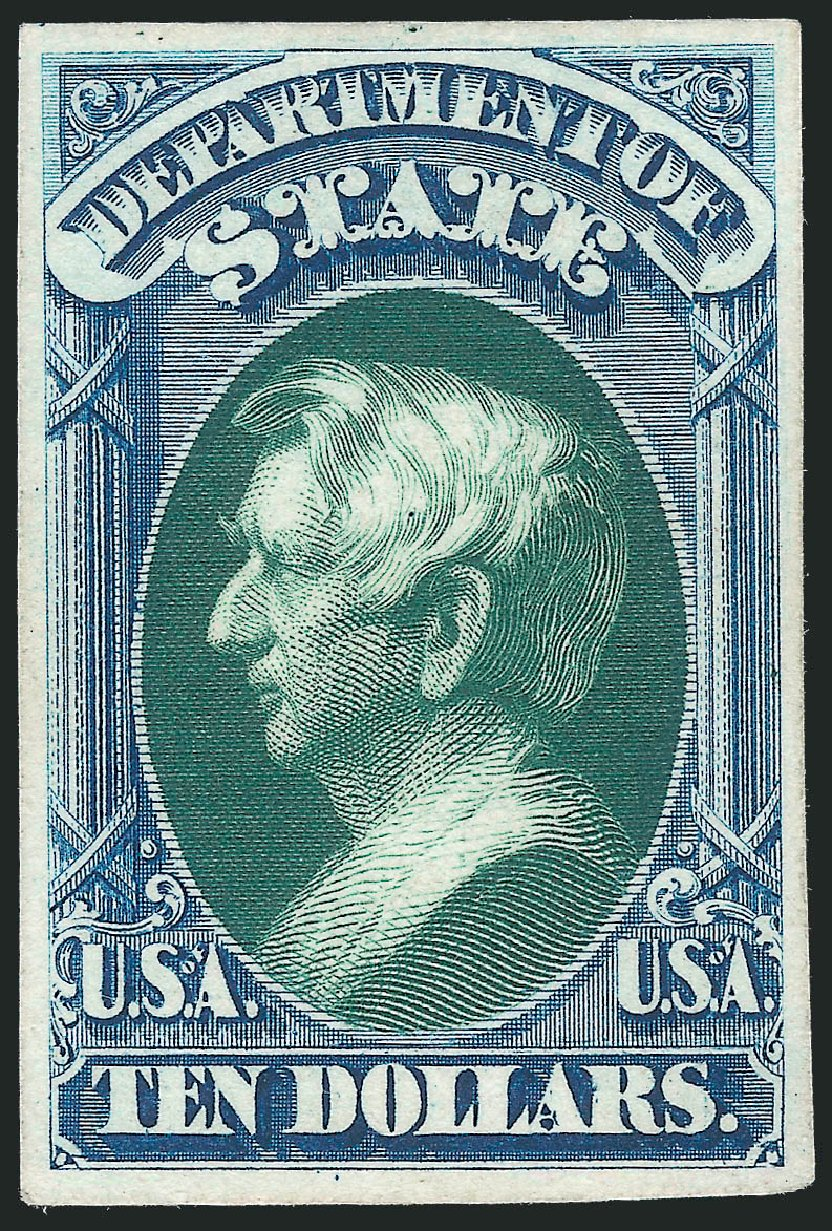 Cost of US Stamp Scott Catalogue O70 - US$10.00 1873 State Official. Robert Siegel Auction Galleries, Oct 2014, Sale 1082, Lot 257
